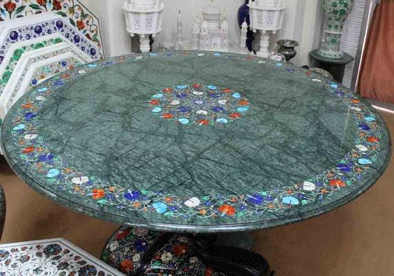 Tavoli Di Marmo Intarsiati : Rotonda tavolo verde marmo intarsiato madre di arredi per etsy