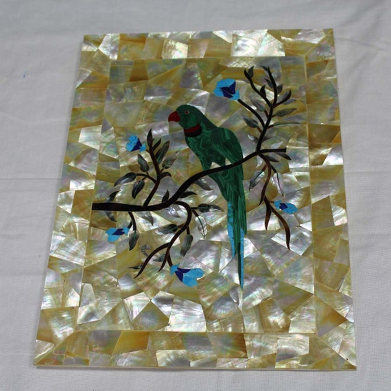 Wall Plate Marble Inlay Tray Mother Of Pearl Parrot Design
