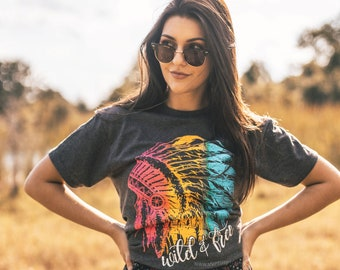 Ladies t-shirt Indian Aztec skull head dress design style womens size tee shirt