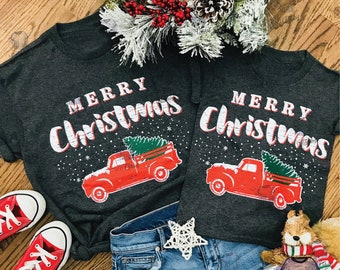 merry christmas truck adult and youth t shirt family matching shirt shirts for christmas holiday tee christmas shirt for women mommy and me