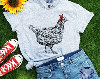 5a092f85b Chicken Hen Bandana T-Shirt-Funny Tee-Farm Animal Tee-Women Graphic Tee-Chicken  Tee-Vintage Farm Shirt-Poultry Farm Tee-Chicken Lover TShirt