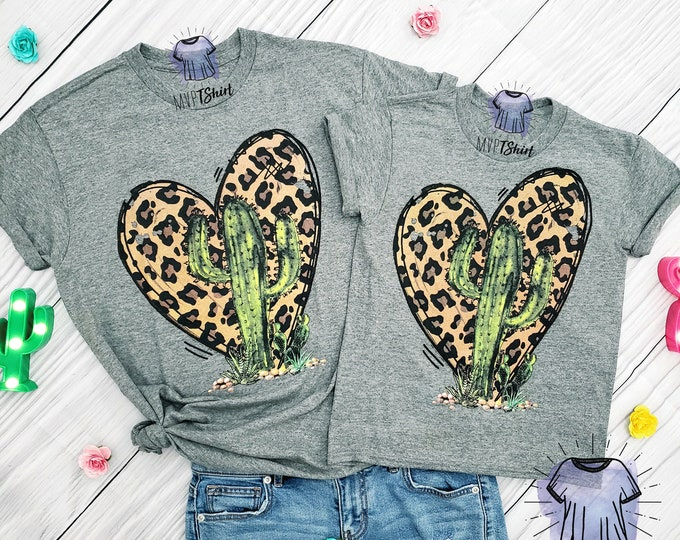 Featured listing image: Mommy & Me - Cactus Leopard Heart