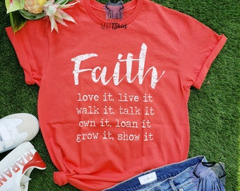 0dd7c4372 Faith Love It Live It T-Shirt-Inspiring Religious Gift-Shirts with  Sayings-Ideal Gift for The Christians-Statement Tee-Women Graphic T-Shirt
