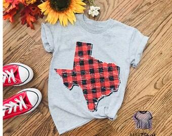 Texas Map Plaid Vintage Youth