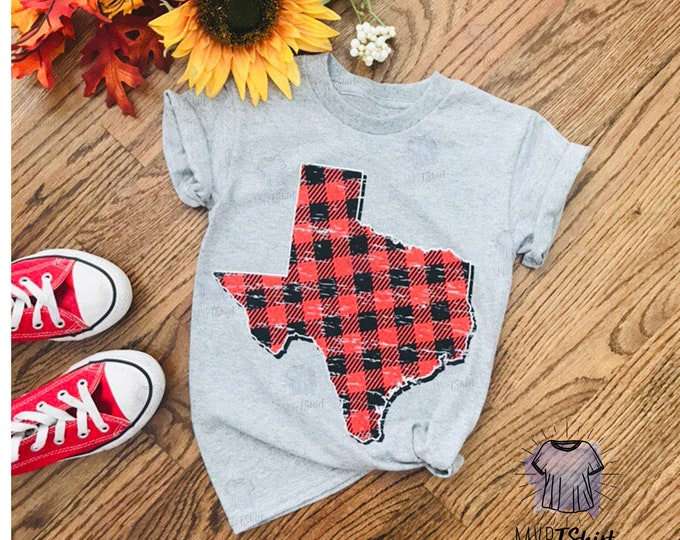 Texas Map Plaid Vintage Youth