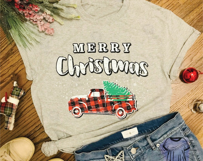 Merry Christmas Buffalo Plaid Truck Adult and Youth