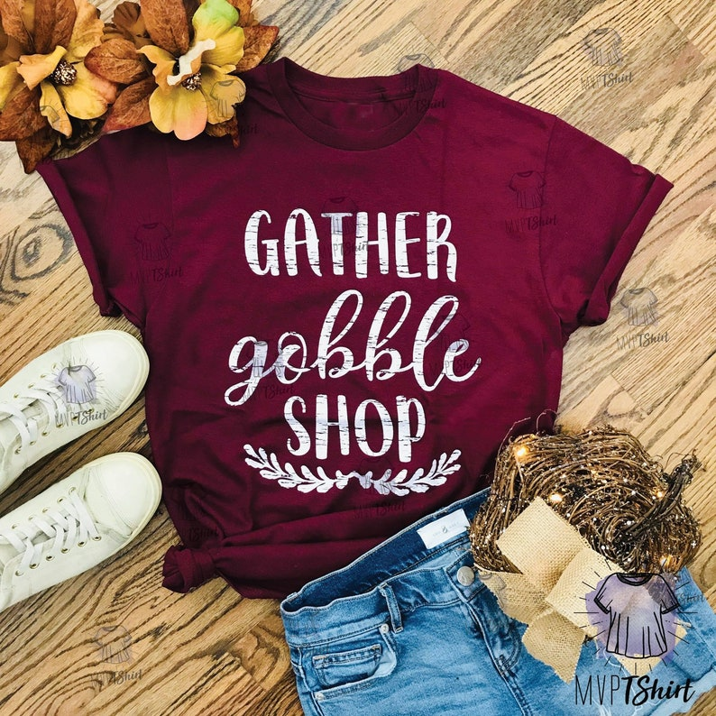 aefff91f0 Gather Gobble Shop T-Shirt Women Fall Graphic Tees | Etsy