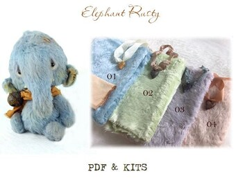 PDF & KITS Teddy Elephant Rusty teddy bear making supplies