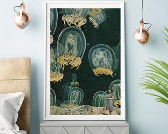 Large wall  art, bohemian decor, coastal wall art, ocean, sea, jellyfish print
