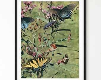 Butterfly print, Vintage Insects , Butterflies Illustration, garden prints, floral art,