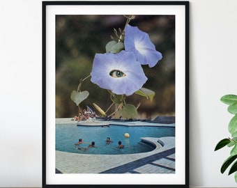Swimming pool print, Floral art, Summer wall decor, Modern art prints