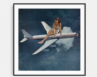 Travel poster, Travel gift, Airplane print