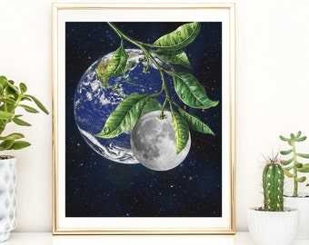 Large Moon Print, Full Moon print, White on Black Print,Realistic Moon, Boho, Poster, Bohemian, Large Art Print, Gift Idea,Moon Phases Print
