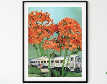 Flower print - Orange wall art - travel prints - traveller gift - train art