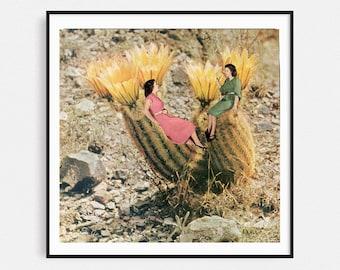 Cactus print, Minimal art, Collage prints, Plant print, Botanical illustration, Best friends gift, Square print 12x12