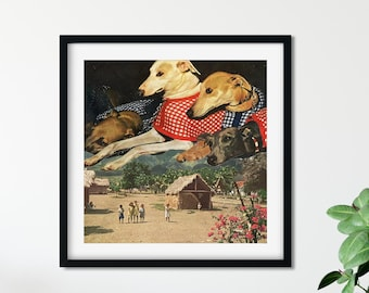 Greyhound print, Dog prints, Dog lover gift, Surreal prints, Surreal art, Collage prints
