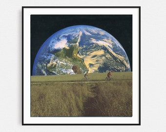 Earth print, Boys on the bicycle art, Collage art, Square print, 12x12