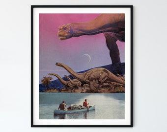 Pink dinosaur print, Lake art poster, Boat, Wall art decor, Vintage style art, Retro prints