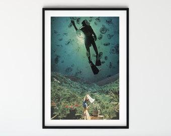 Wall art prints, diver art, retro print, mid century vibe, jelly fish print, vintage art, vintage decor, A4 prints, A3 prints