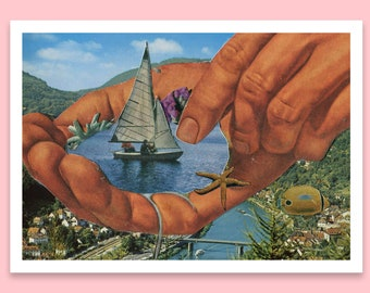 Postcard art print - Coral water art - Travel postcard - A6