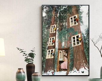 Extra large mid century art featuring fairy house in the forest