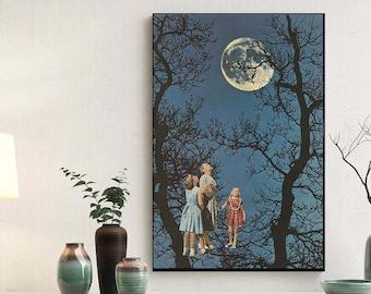 Moon Print, Full moon poster, Large print, Large wall art,  extra large wall art, large wall print, Hallway art, Livingroom art
