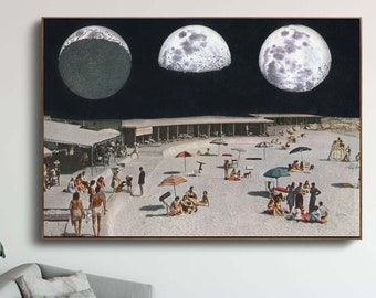 Moon Phases print, Large print, Large wall art,  extra large wall art, large wall print, Hallway art, Livingroom art