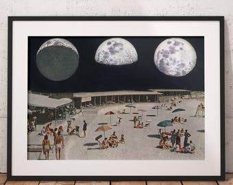 Moon art print, Moon phases, Beach poster