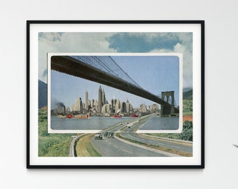 New York City Print -Manhattan bridge art - Travel print