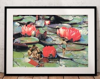 Summer print,  Pool Art Print, Waterlilies print, red and green print, nature prints, beach decor, beach art, seaside, holiday