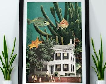 Sea print, ocean print, underwater print, sea wall art, fish wall art, collage art, surreal art, unique art, modern art, diving wall art