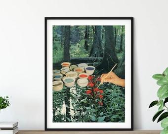 Green wall art - Nature prints - Trees print - Mother nature art