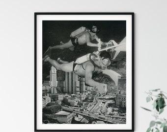 Monochrome print, A4 black and white print, Bathroom decor, Diving art, Cityscape