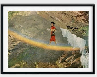 Rainbow print wall art, Positive prints, River art, Gift for her, unframed art