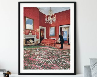 Red print, Wall art poster, Architectural modern artwork, Pink floral large poster