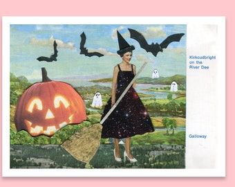 Halloween postcard. - A6 card art - Pumpkin - Vintage