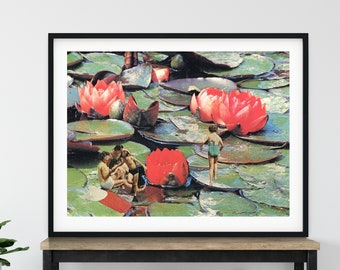 Extra large landscape print, Large wall decor, Waterlilies, Pond art