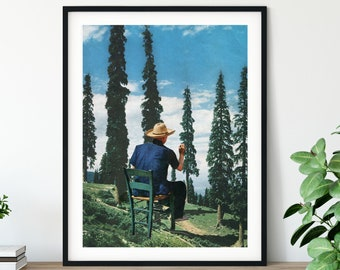 Blue sky nature print - Trees forest print - Mother / Father nature