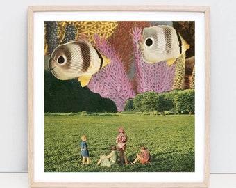 Fish print, Fish art, Nature prints, Colourful wall art, Square prints