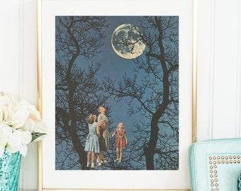 Full moon print, Full moon poster, Moon prints, Full moon art, Illustration, Blue print, Trees print, Retro prints, Vintage art