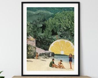 Lemon print, Lemon wall art decor, Beach prints, Summer art, Living room art, Bathroom or Hallway