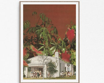 Red print, Plants wall art, Architecture poster, Modern large prints