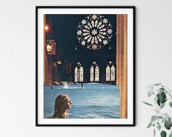 Sea print, Ocean print,  Beach Wall art decor, Stain glass art, Vintage poster, Collage art