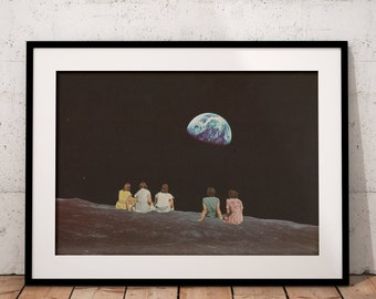 Retro prints, Retro vintage poster, Earth print, Vintage art, Collage art, Surrealism, Universe, Gift for best friend
