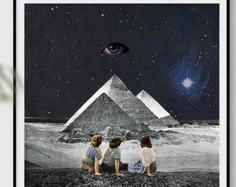 Blue print, Third eye print, Eyes print, Pyramids, Pyramid, Surreal collage art, Universe, Space, Galaxy, posters, wall art, square art