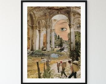 Modern art poster, Church Architecture art print, Blue eye art, Inspirational print