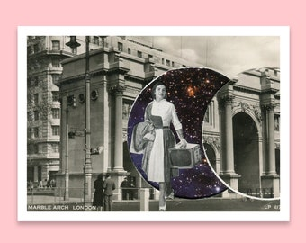 London postcard - Small art print -  Marble Arch - Vintage - Black and white -