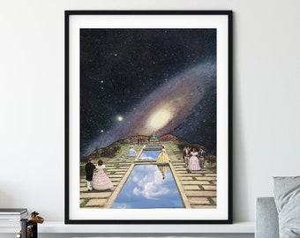 Modern wall art print, Universe, Space, Nebula, Sky, Garden poster, Living room, bedroom, wall decor