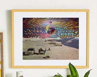 Desert print, Landscape wall art, Home decor, Nature print, Retro print, Vintage prints, Disco ball, Gift for him, Skandi