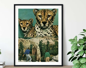 Green wall art, animal prints, Cat lover gift, collage art, turquoise decor